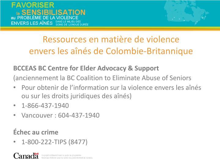 Ressources en matière de violence