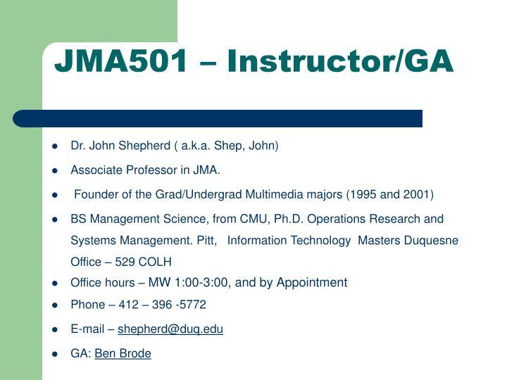 JMA501 – Instructor/GA