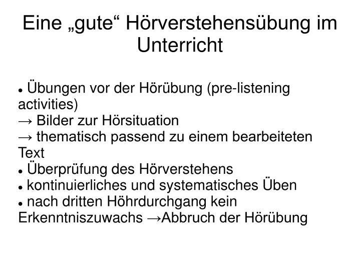 Übungen vor der Hörübung (pre-listening activities)