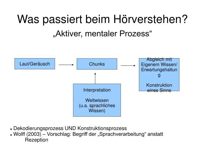 """Aktiver, mentaler Prozess"""