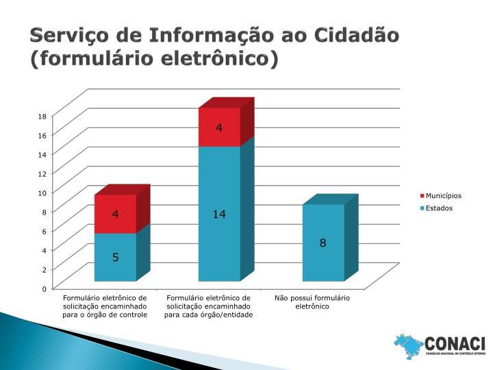 Serviço de Informação ao Cidadão (formulário eletrônico)