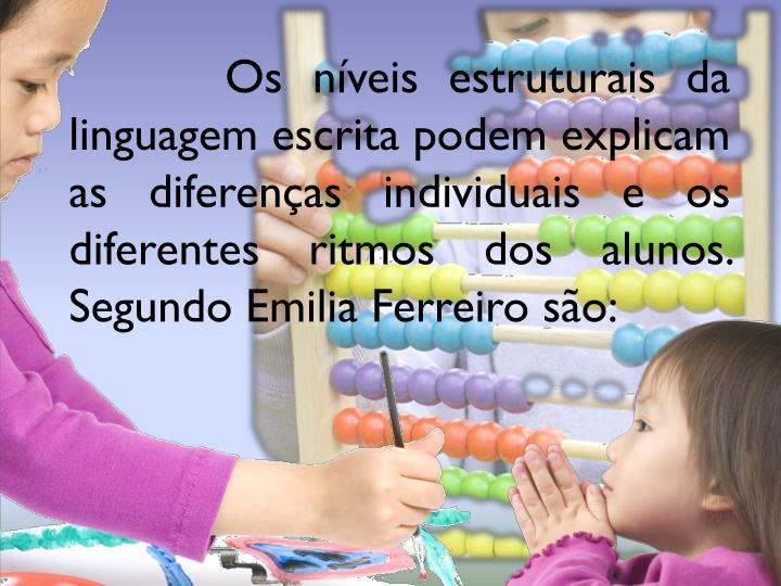 Os níveis estruturais da linguagem escrita podem explicam as diferenças individuais e os diferentes ritmos dos alunos. Segundo Emilia Ferreiro são: