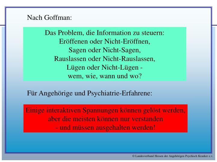 Nach Goffman: