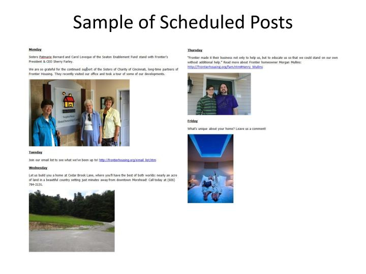 Sample of Scheduled Posts