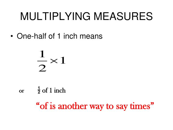 MULTIPLYING MEASURES