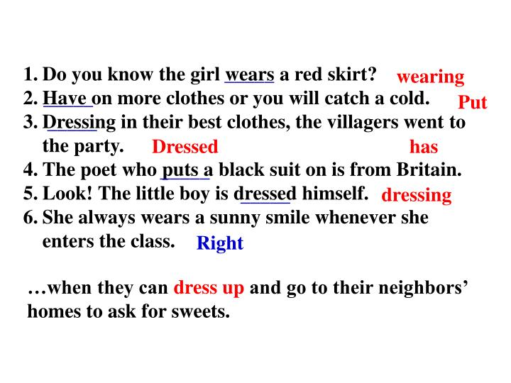 Do you know the girl wears a red skirt?