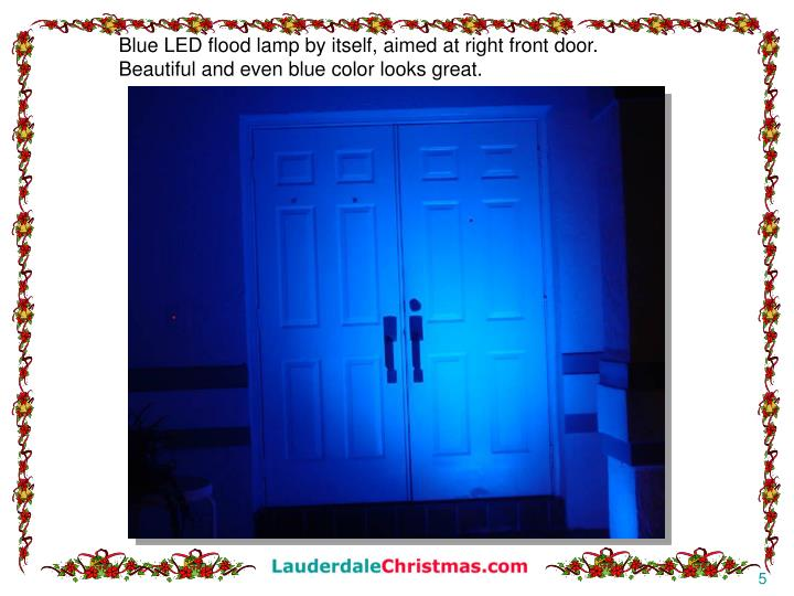 Blue LED flood lamp by itself, aimed at right front door.
