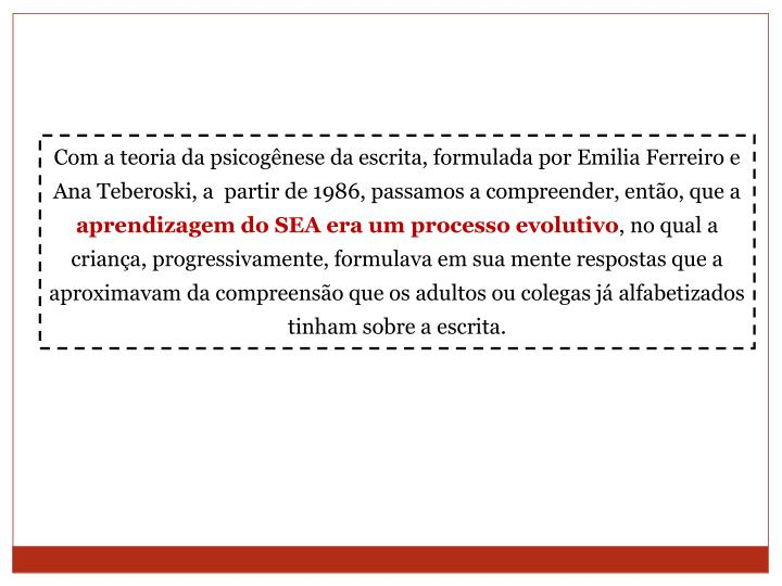 Com a teoria da psicogênese da escrita, formulada por Emilia Ferreiro e Ana Teberoski, a  partir de 1986, passamos a compreender, então, que a