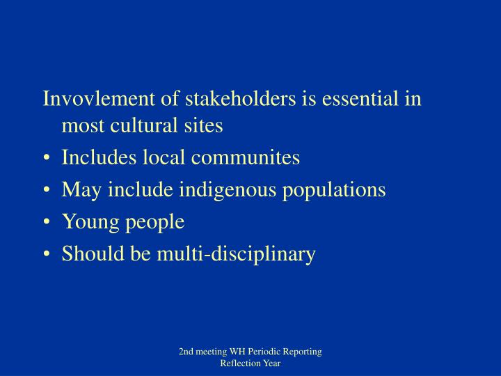 Invovlement of stakeholders is essential in most cultural sites