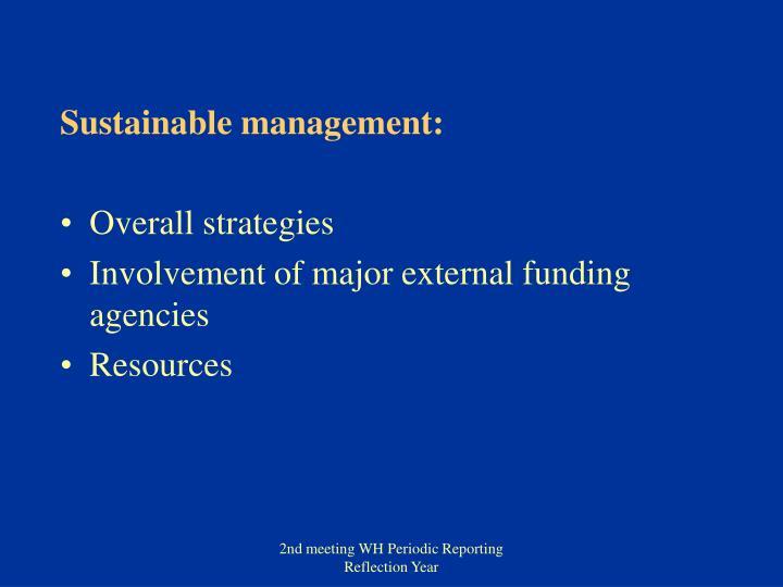 Sustainable management: