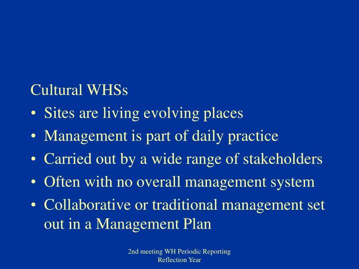 Cultural WHSs