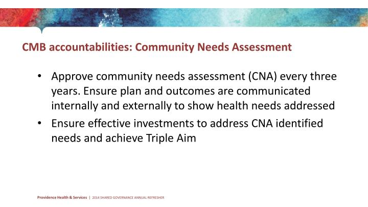 CMB accountabilities: Community Needs Assessment