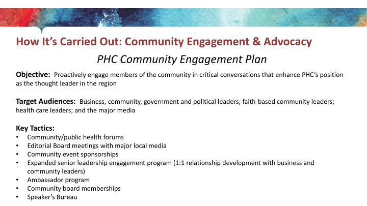 How It's Carried Out: Community Engagement & Advocacy