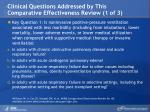 clinical questions addressed by this comparative effectiveness review 1 of 3
