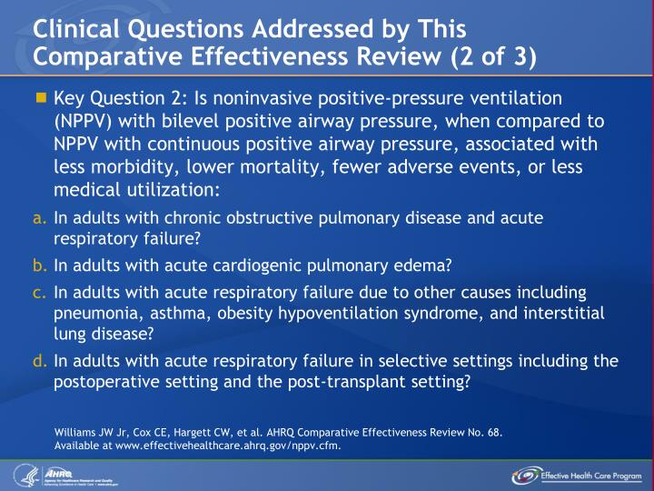 Clinical Questions Addressed by This Comparative Effectiveness Review (2 of 3)