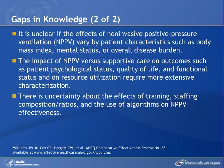Gaps in Knowledge (2 of 2)