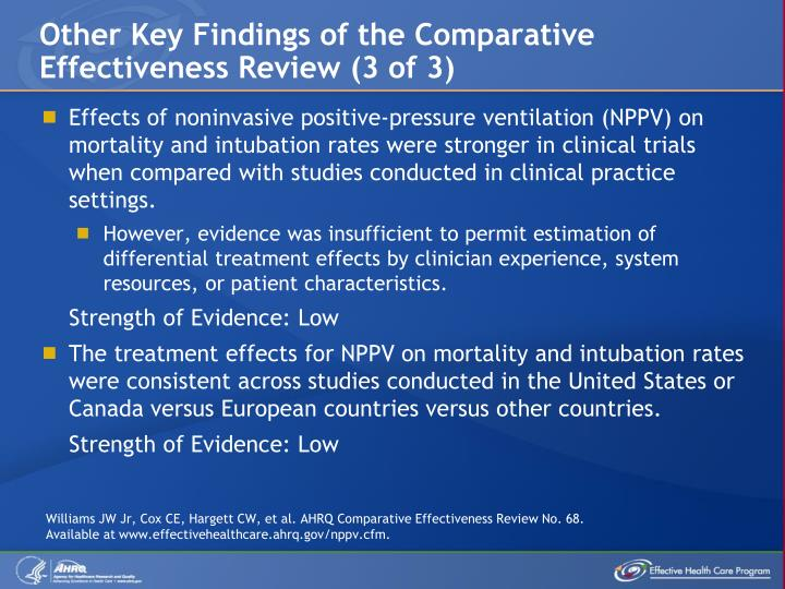 Other Key Findings of the Comparative Effectiveness Review (3 of 3)