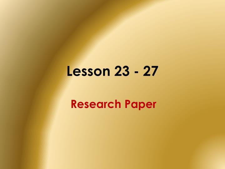 Lesson 23 - 27