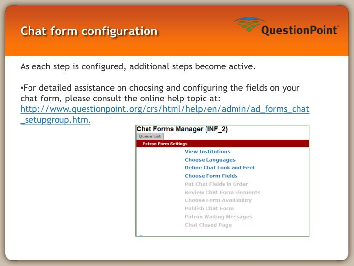Chat form configuration
