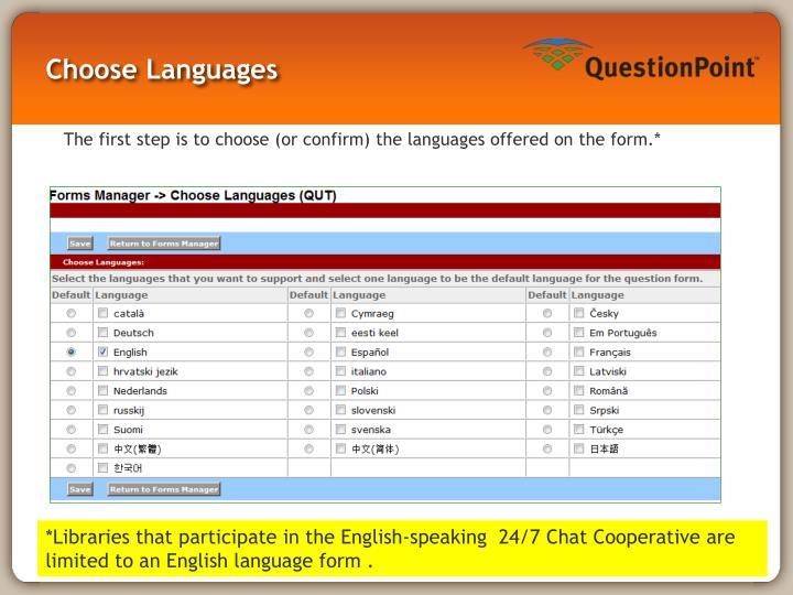 Choose Languages