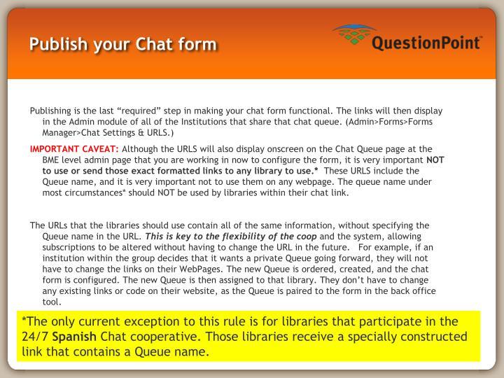 Publish your Chat form