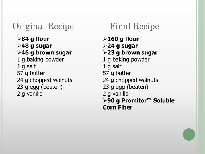 Original Recipe               Final Recipe