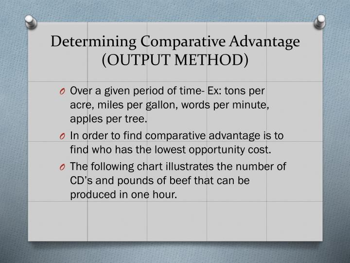 Determining comparative advantage output method