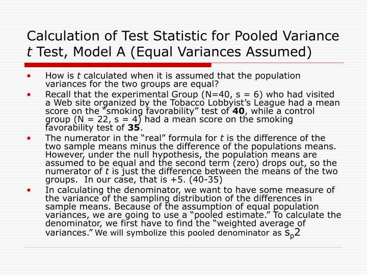 Calculation of Test Statistic for Pooled Variance
