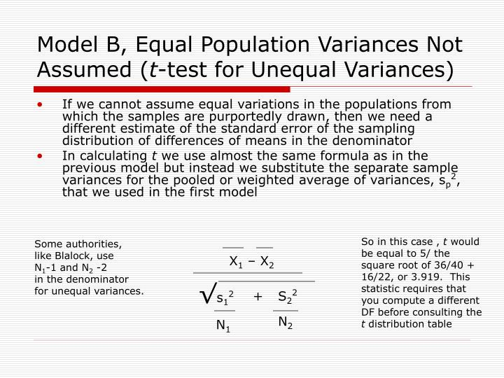 Model B, Equal Population Variances Not Assumed (