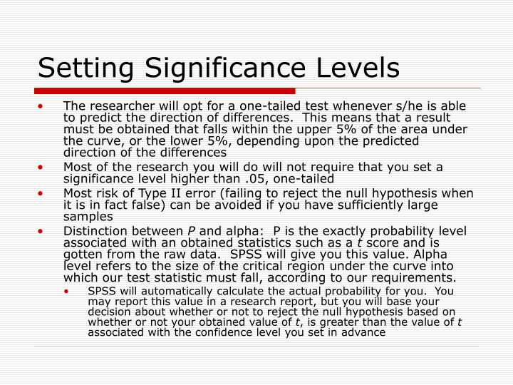 Setting Significance Levels