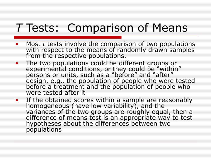 T tests comparison of means