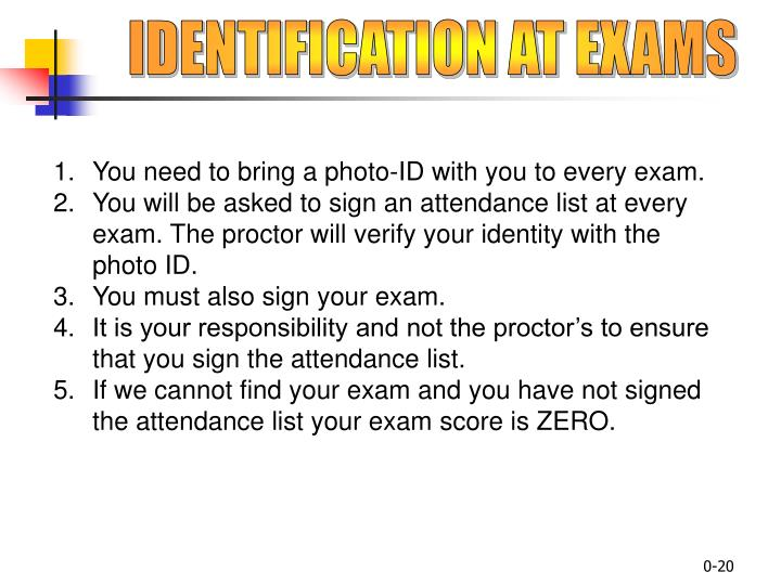 IDENTIFICATION AT EXAMS