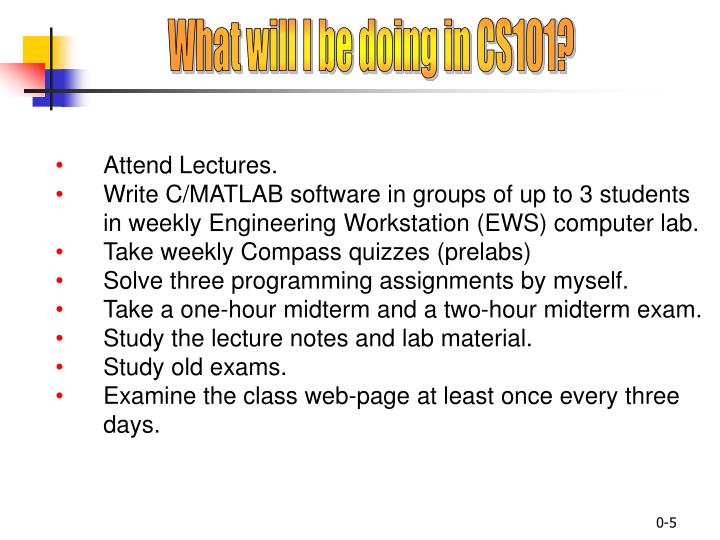 What will I be doing in CS101?