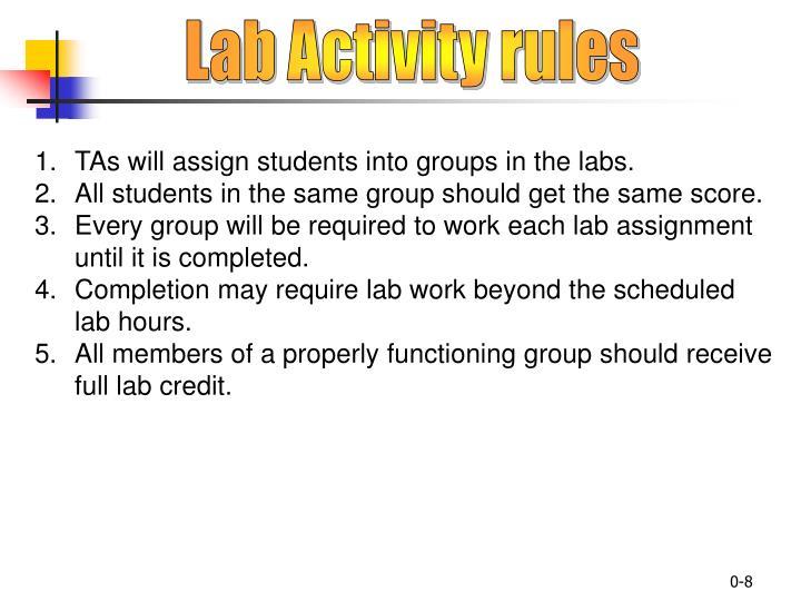 Lab Activity rules