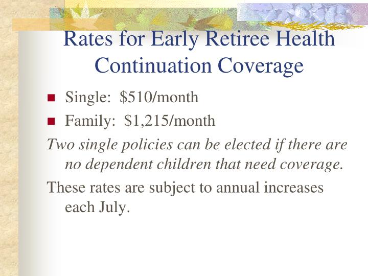 Rates for Early Retiree Health Continuation Coverage