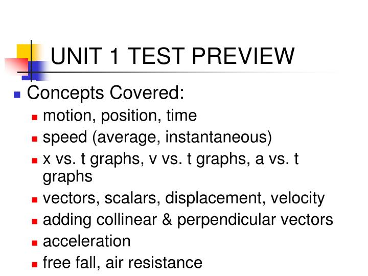 UNIT 1 TEST PREVIEW