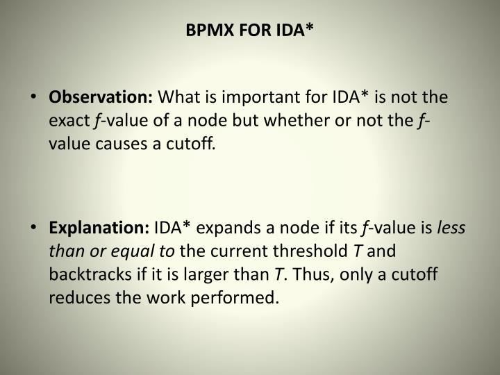 BPMX FOR IDA*