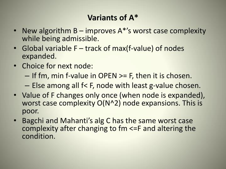 Variants of A*