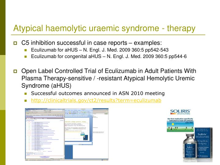 Atypical haemolytic uraemic syndrome - therapy