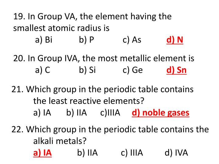 19. In Group VA, the element having the smallest atomic radius is
