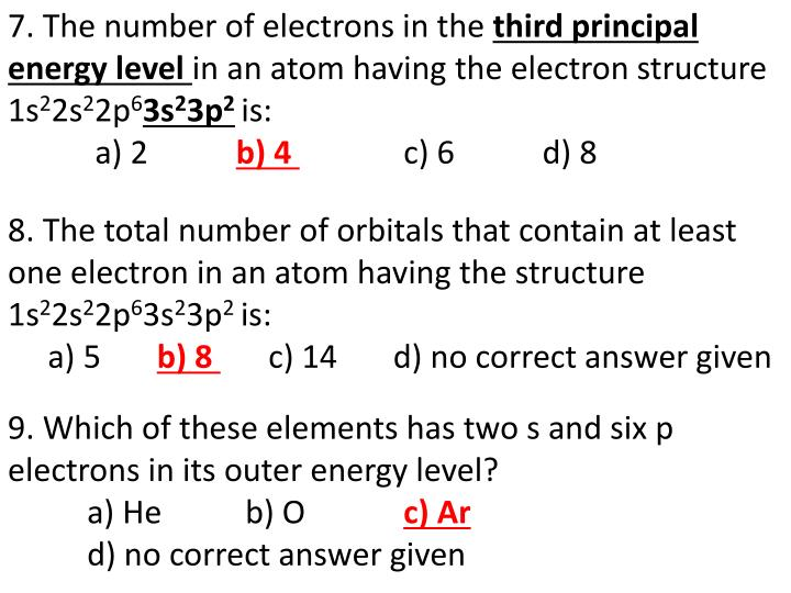 7. The number of electrons in the