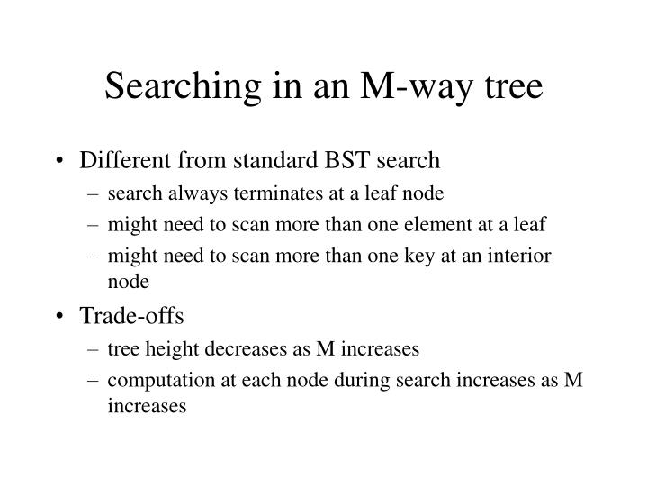 Searching in an M-way tree