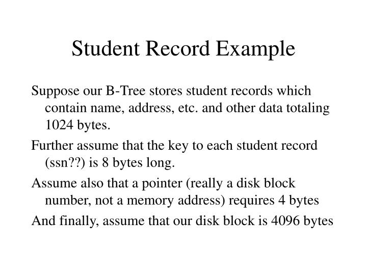 Student Record Example