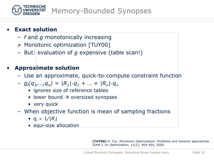 Memory-Bounded Synopses