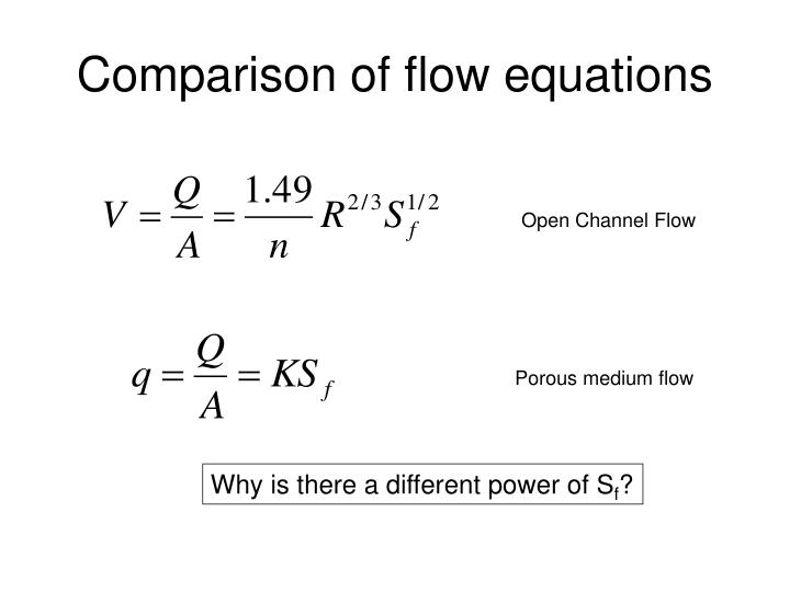 Comparison of flow equations
