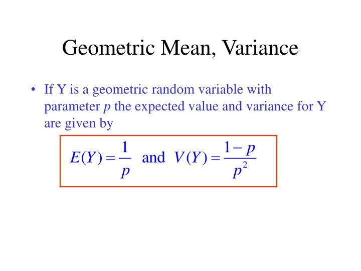 Geometric Mean, Variance