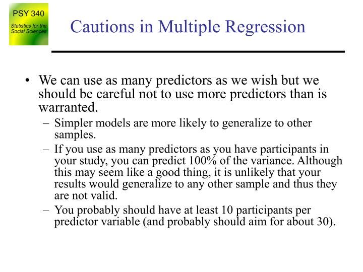 Cautions in Multiple Regression