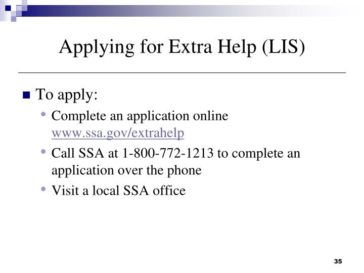 Applying for Extra Help (LIS)