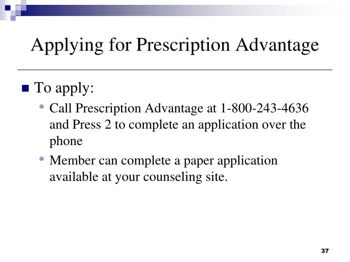 Applying for Prescription Advantage