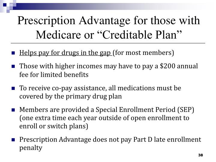 "Prescription Advantage for those with Medicare or ""Creditable Plan"""